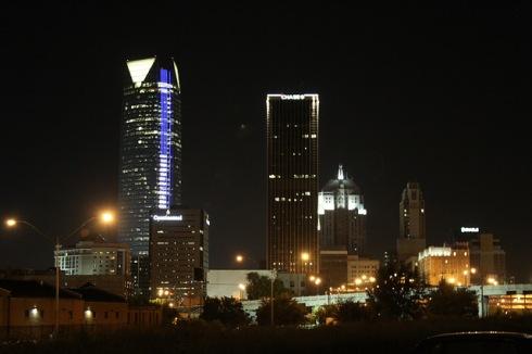 Oklahoma City skyline at night (photo courtesy Memories by Sandra D)