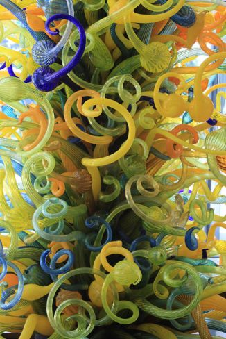 "The Dale Chihuly ""Eleanor Blake Kirkpatrick Memorial Tower"" rises 55 ft in the OKC MOA atrium (photo courtesy Memories by Sandra D)"